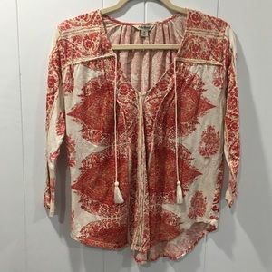 Lucky Brand Patterned Pink and Red 3/4 Sleeve